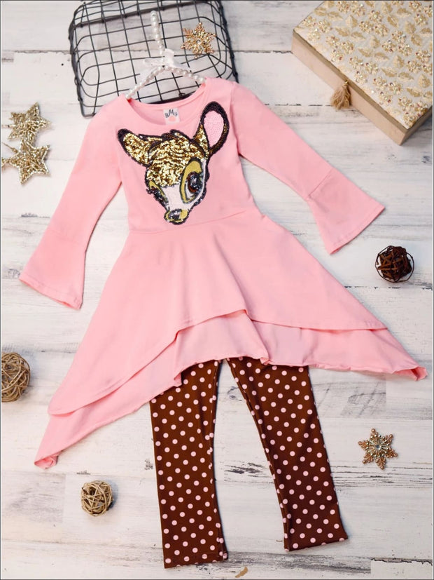 Girls Pink & Brown Double Layer Cuffed Sleeve Tunic & Leggings Set with Bambi Applique - Pink/Brown / 2T/3T - Girls Fall Casual Set