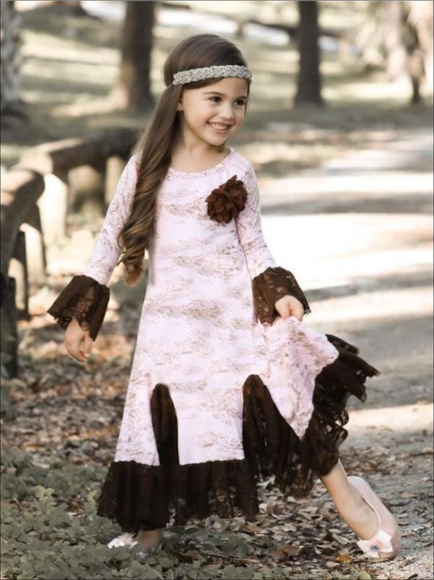 Girls Pink & Brown French Countryside Twirl Dress with Lace Ruffles - Girls Fall Dressy Dress