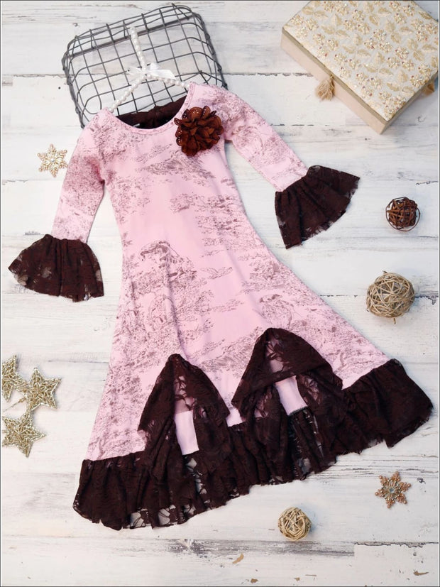 Girls Pink & Brown French Countryside Twirl Dress with Lace Ruffles - Pink / 2T-3T - Girls Fall Dressy Dress