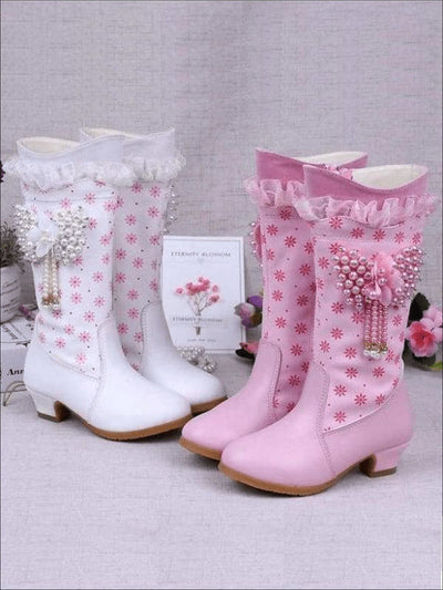 Girls Pink Butterfly Princess Boots ( 2 Color Options) - Girls Boots