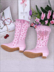 Girls Pink Butterfly Princess Boots ( 2 Color Options) - Pink / 2 - Girls Boots