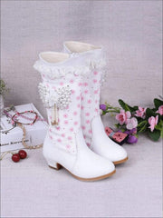 Girls Pink Butterfly Princess Boots ( 2 Color Options) - White / 2 - Girls Boots