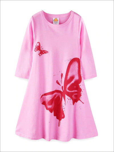 Girls Pink Butterfly Print Dress - Pink / 2T - Girls Fall Casual Dress