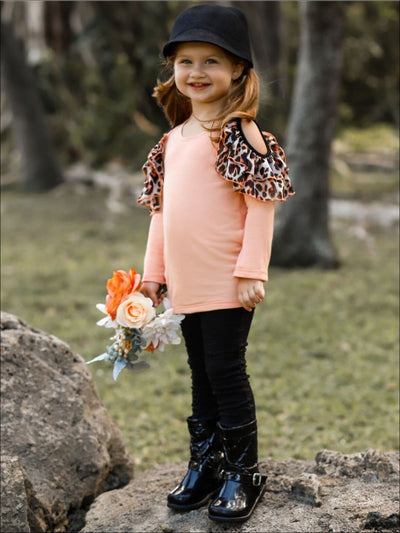 Girls Pink Cold Shoulder Long Sleeve Tunic with Animal Print Ruffles & Black Rose Print Pencil Pants Set - Girls Fall Casual Set