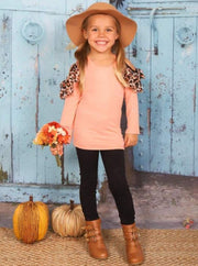 Girls Pink Cold Shoulder Long Sleeve Tunic with Animal Print Ruffles & Black Rose Print Pencil Pants Set - Pink / 2T/3T - Girls Fall Casual