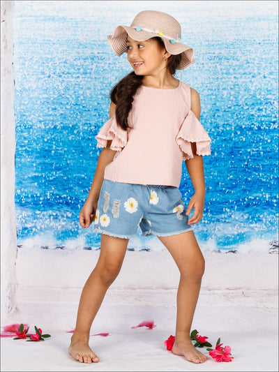 Girls Pink Cold Shoulder Ruffle Sleeve Tunic & Flower Shorts Set - Girls Spring Casual Set