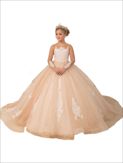 Girls Pink Communion Gown - Champagne / 2T - Girls Gowns