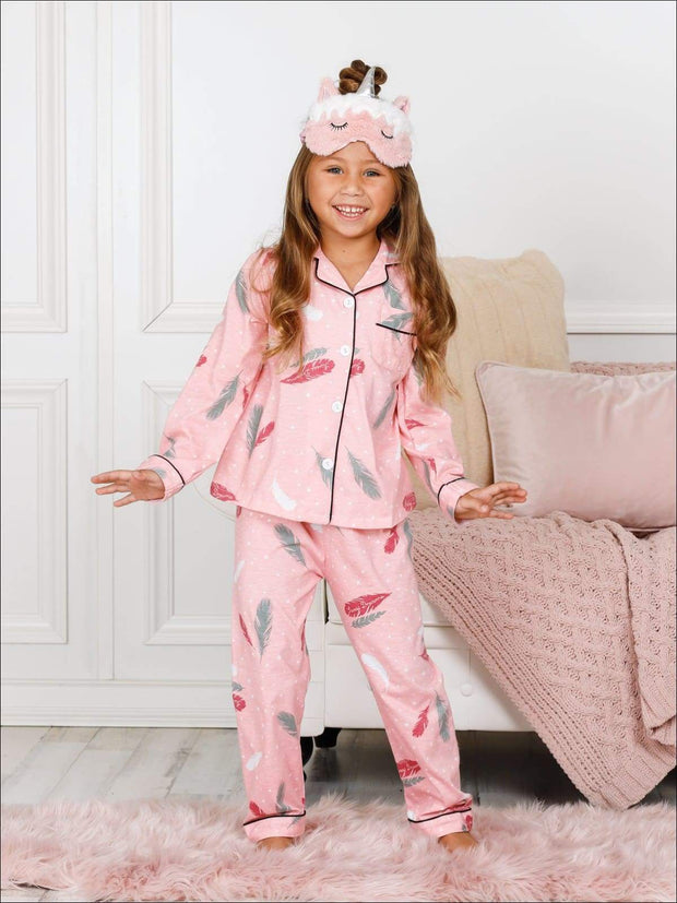 Girls Pink Cotton Embroidered Long Sleeve Pajama Set - Multicolor / 2T - Girls Pajama