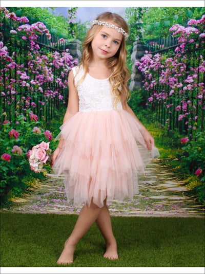 Girls Pink & Cream Sleeveless Floral Lace & Applique Tiered Ruffled Tutu Dress - Girls Spring Dressy Dress