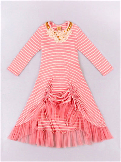 Girls Pink & Cream Stripe Hi-Low Dress