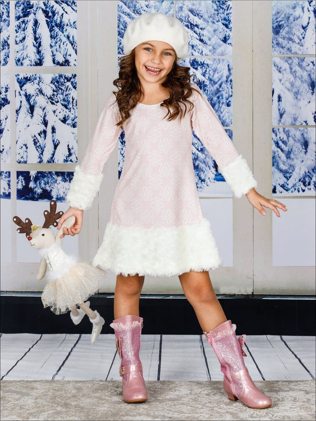 Girls Pink & Creme Medallion Print Rosette Cuffed Dress - Girls Fall Dressy Dress