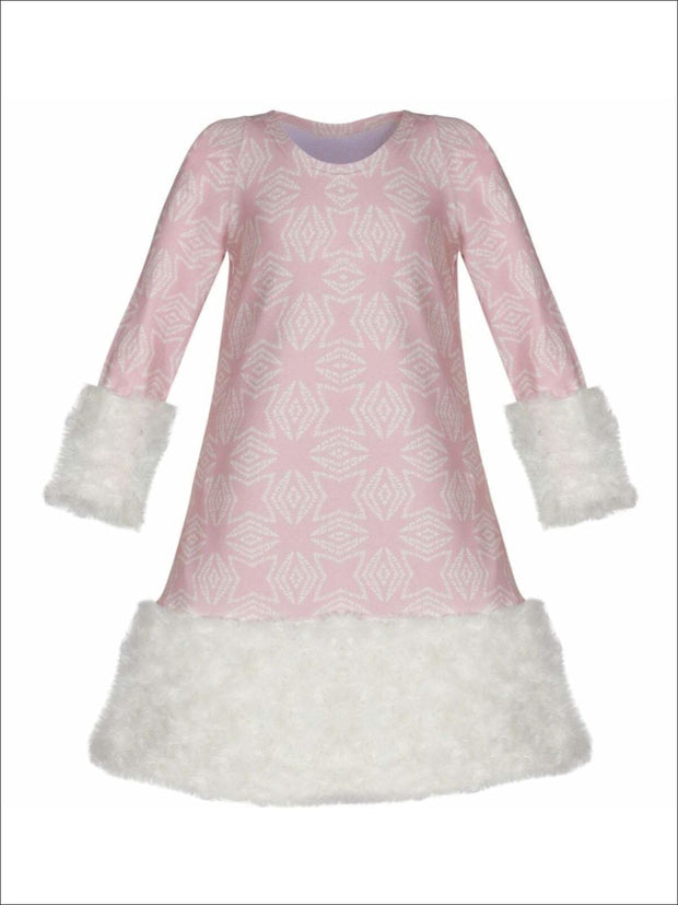 Girls Pink & Creme Medallion Print Rosette Cuffed Dress - Pink / 2T/3T - Girls Fall Dressy Dress