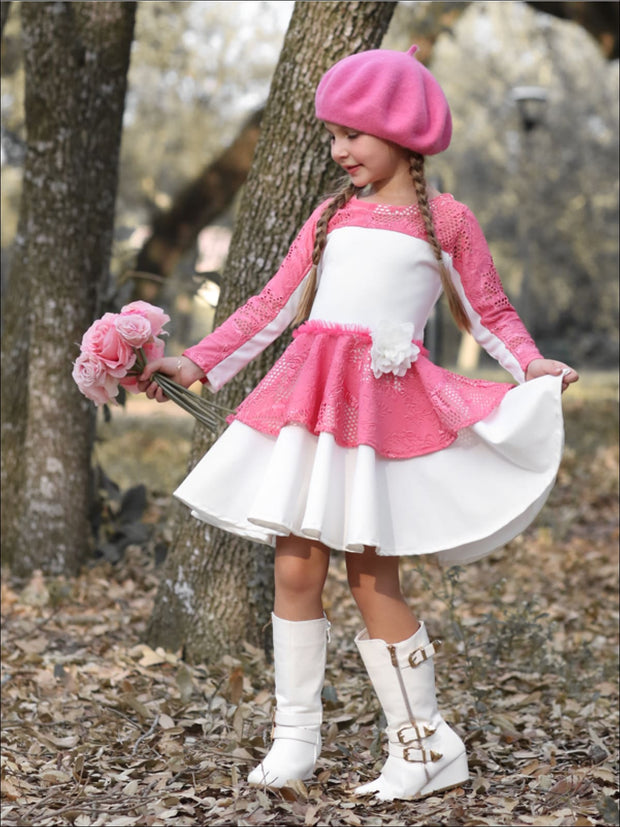 Girls Pink & Creme Print Blocked Pleated Skater Dress - Fall Low Stock