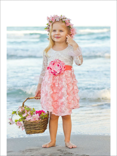 Girls Pink Crème Rosette Lace Hi-Low Dress - Girls Dress