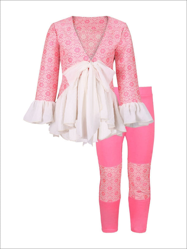 Girls Pink & Creme Ruffle Jacket Set with Pencil Patch Pants - Fall Low Stock