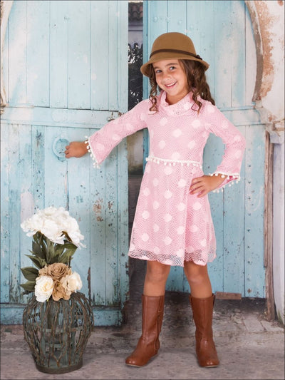 Girls PINK Crochet Boho Dress - Girls Fall Dress
