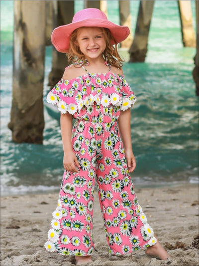Girls Pink Daisy Print Off the Shoulder Ruffled Palazzo Jumpsuit with Daisy Appliques - Girls Jumpsuit