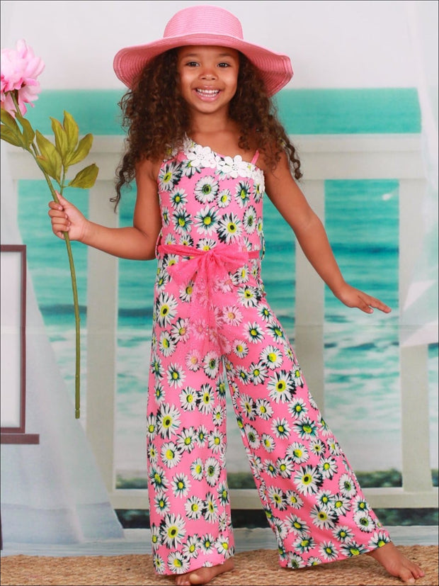 Girls Pink Daisy Print One Shoulder Palazzo Jumpsuit with Pink Glitter Sash & Flower Trim - Girls Jumpsuit