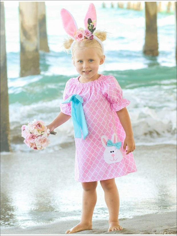 Girls Pink Diamond Printed Easter Themed Bunny Bow Dress - Girls Spring Casual Dress