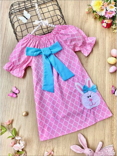 Girls Pink Diamond Printed Easter Themed Bunny Bow Dress - Pink / 2T - Girls Spring Casual Dress