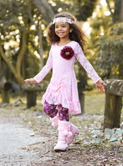 Girls Pink Drawstring Lace Tunic & Floral Leggings Set - Girls Fall Dressy Set