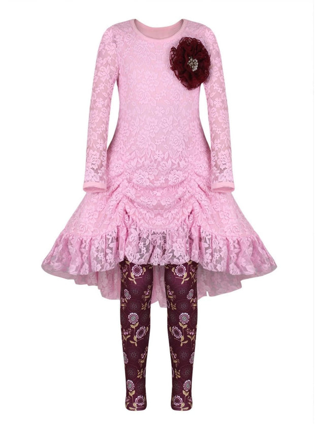 Girls Pink Drawstring Lace Tunic & Floral Leggings Set - Pink / 2T/3T - Girls Fall Dressy Set