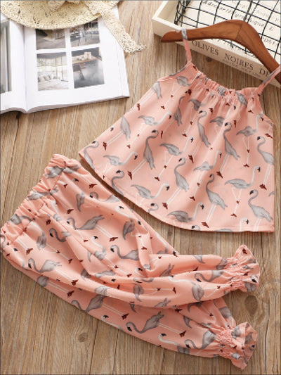 Girls Pink Flamingo Chiffon Set - Pink / 2T - Girls Spring Casual Set