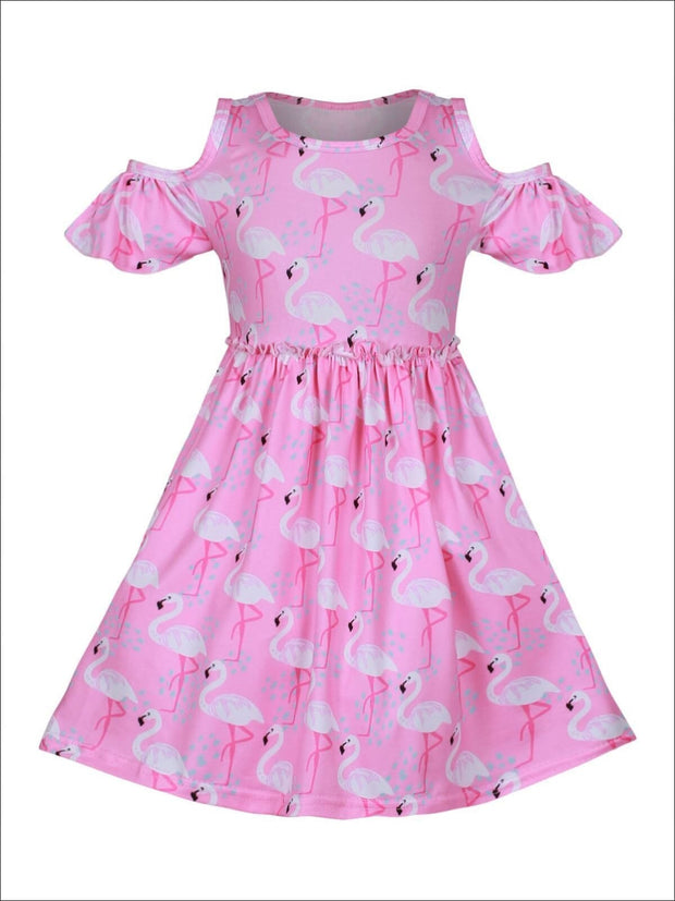 Girls Pink Flamingo Print A-Line Cold Off the Shoulder Dress - Girls Spring Casual Dress