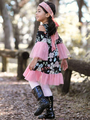 Girls Pink Floral Lace Boho Tunic - Girls Fall Top
