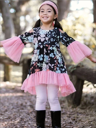 Girls Pink Floral Lace Boho Tunic - Pink/Floral / 2T/3T - Girls Fall Top