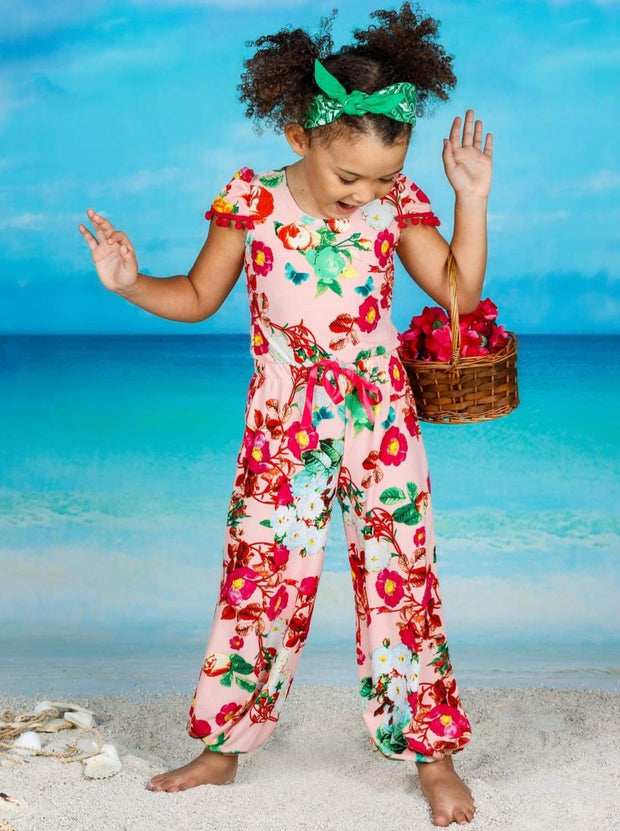 Girls Pink Floral Pom Pom Cap Sleeve Ribbon Bow Jumpsuit - Girls Jumpsuit
