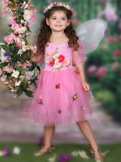Girls Pink Flower Garden Fairy Halloween Costume - Girls Halloween Costume