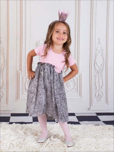 Girls Pink & Gray Cap-Sleeve Babydoll Dress - Girls Fall Dressy Dress