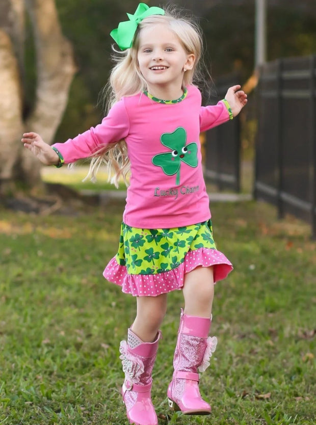 Girls Pink & Green St. Patricks Day Themed Clover Print Long Sleeve Top & Ruffled Skirt Set - Girls St. Patricks Set