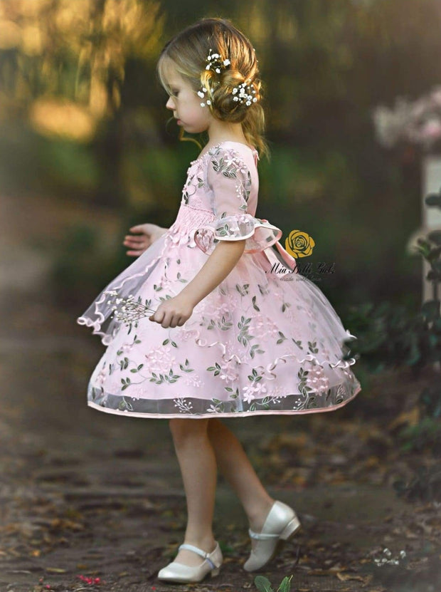 Girls Pink Half Sleeve Flower Embroidered Ruffled Party Dress - Girls Spring Dressy Dress