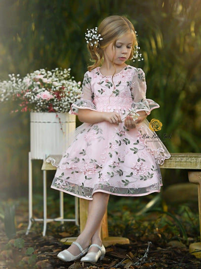 Girls Pink Half Sleeve Flower Embroidered Ruffled Party Dress - pink / 3T/4T - Girls Spring Dressy Dress
