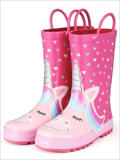 Girls Pink Heart Print Unicorn Rubber Rain Boots - Pink / 1 - Girls Boots