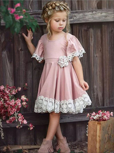 Girls Pink Lace Flare Sleeve A-Line Dress With Flower Detail - Pink / 18M - Girls Spring Casual Dress