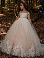 Girls Pink Lace Gown - Ivory / 2T - Girls Gowns
