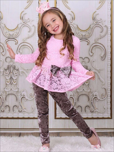 Girls Pink Lace Peplum Tunic & Velvet Leggings Set - Girls Fall Dressy Set