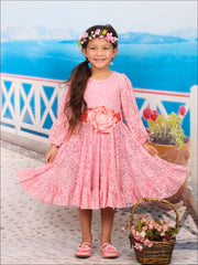 Girls Pink Lace Princess Peasant Sleeve Flare Dress - Fall Low Stock