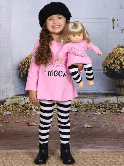Girls Pink Long Sleeve Kitty Meow Top & Striped Leggings Set with Matching Doll Set - Girls Fall Casual Set