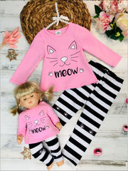 Girls Pink Long Sleeve Kitty Meow Top & Striped Leggings Set with Matching Doll Set - Pink / XS-2T - Girls Fall Casual Set
