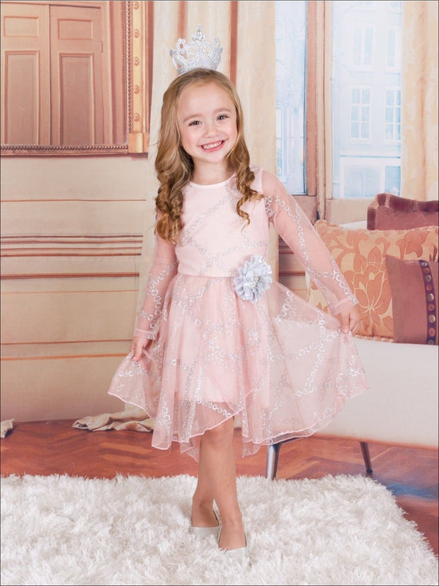Girls Pink Long Sleeve Lace Audrey Twirl Dress with Silver Flower & Silver Embroidery - Fall Low Stock
