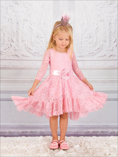 Girls Pink Long Sleeve Lace Princess Twirl Dress with Matching Sash - Fall Low Stock