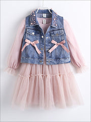Girls Pink Long Sleeve Tutu Dress with Pearl Embellished & Bow Denim Vest - Girls Fall Casual Dress