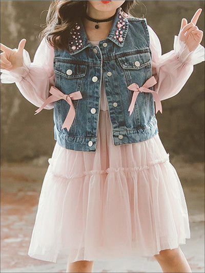 Girls Pink Long Sleeve Tutu Dress with Pearl Embellished & Bow Denim Vest - Pink / 3T - Girls Fall Casual Dress