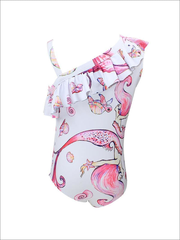 Girls Pink Mermaid Pattern One Piece Bathing Suit - 7T - Girls One Piece Swimsuit