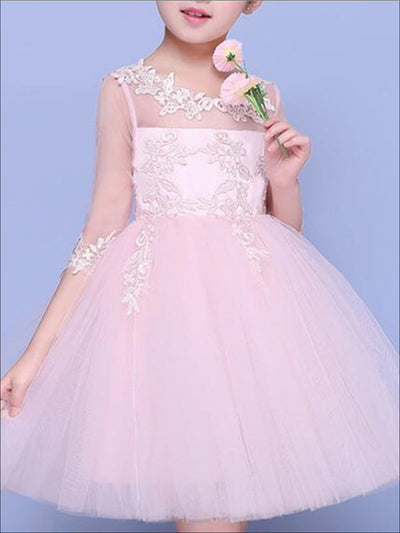 Girls Pink Mesh Long Sleeve Lace Embroidery Communion & Flower Girl Party Dress - Pink / 2T - Girls Gown