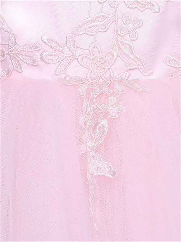 Girls Pink Mesh Long Sleeve Lace Embroidery Communion & Flower Girl Party Dress - Girls Gown